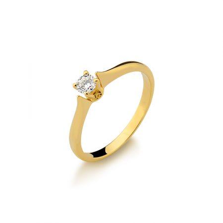 Solitário em ouro amarelo 18k-750 com diamante - 0800872020Br
