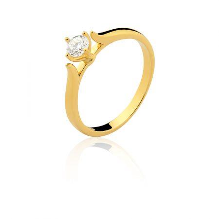 Solitário em ouro amarelo 18k-750 com diamante - 0800892030Br