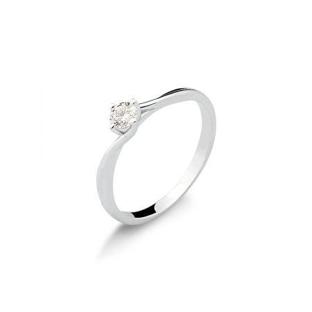 Solitário em ouro branco 18k-750 com diamante - 0800901020Br