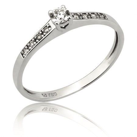 Solitário em ouro branco 18k-750 com diamante e pedras laterais - 0800981010Br