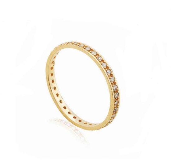 Aliança completa de diamantes em ouro amarelo 18k