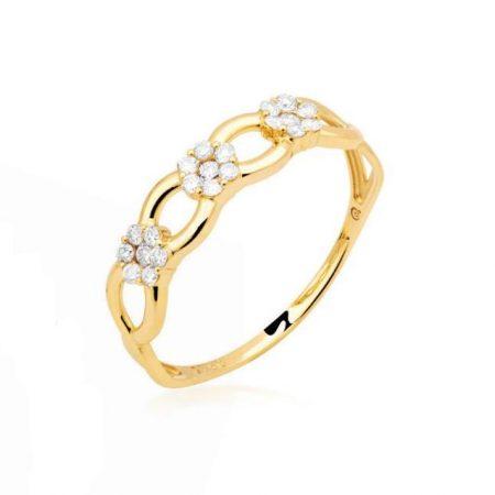Anel em ouro amarelo 18k com 21 diamantes