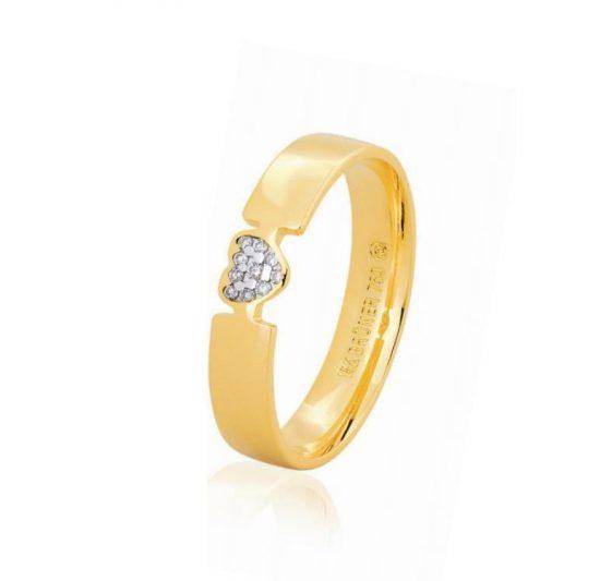 Anel em ouro amarelo 18k coração com diamantes-75.0317.2.004