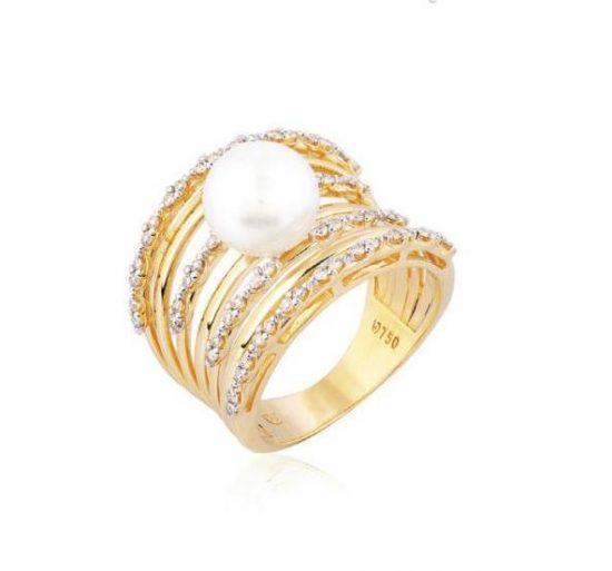 Anel em ouro amarelo 18k vários aros com diamantes e pérola 14.4022.2.917