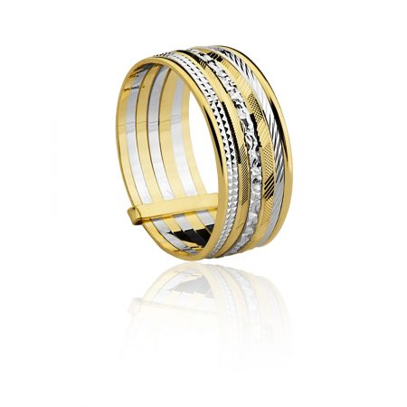Anel sete fios em ouro amarelo e branco 18k-750 - 1400964000Br