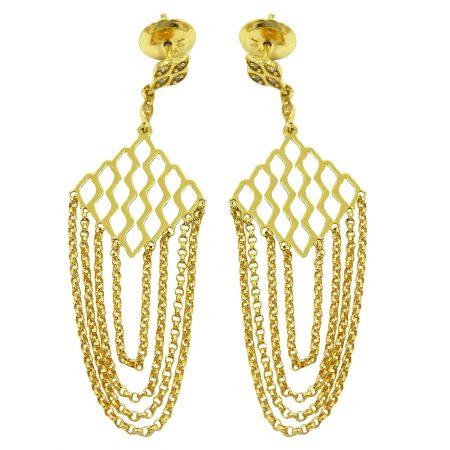 Brinco Franja em Ouro Feminino com Diamantes jbr000124-2