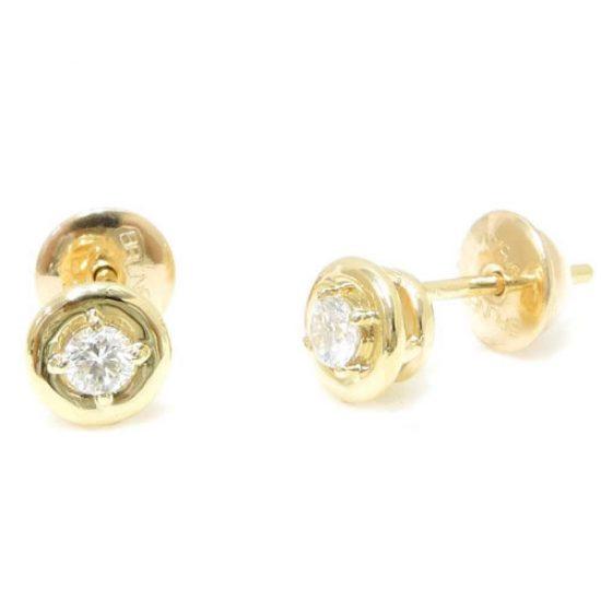 Brinco Solitário de Ouro 18K com Diamantes de 10 pontos cada 0235152020