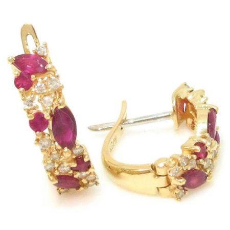 Brinco de Argola de Ouro 18K com Rubis e Diamantes 0230174503