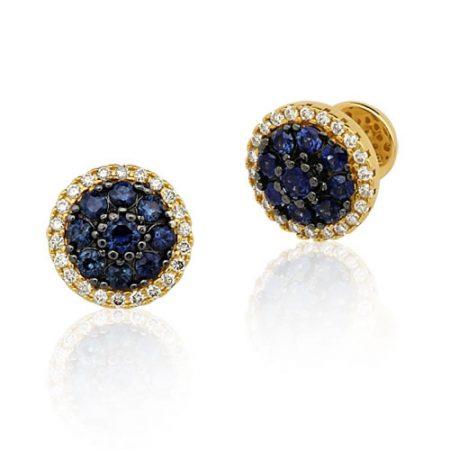 Brinco de Ouro 18K com Diamantes e Safiras 0232432502