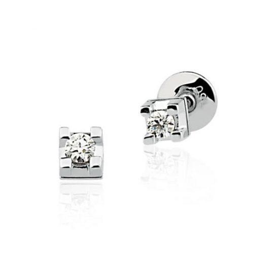 Brinco de Ouro Branco Cartier Solitário com Diamante de 5 pontos 0217481010