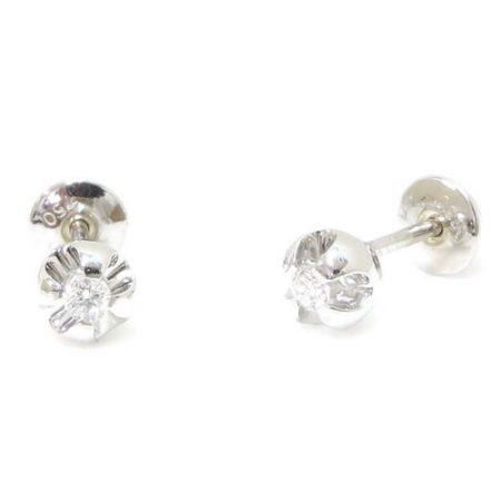 Brinco em Ouro Branco Solitário com Diamantes de 5 pontos cada 0235121010