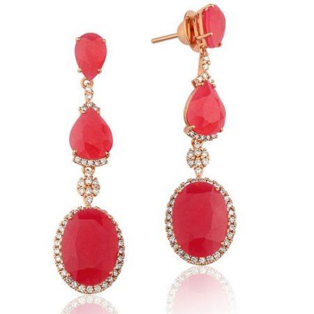 Brincos de Ouro com Diamantes e Quartzito Rose 0235743946
