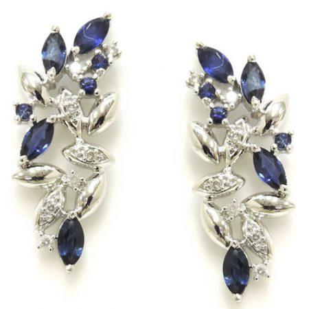 Brincos em Ouro 18K com Diamantes e Safiras Azuis 0236131502