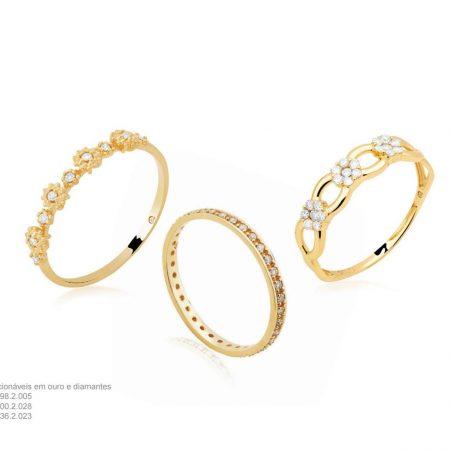 Conjunto 3 anéis em ouro amarelo 18k e diamantes