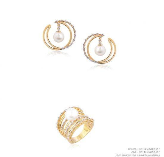 Conjunto brincos e anel em ouro amarelo 18k com diamantes e pérolas