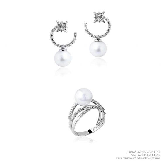 Conjunto brincos e anel em ouro branco 18k com diamantes e pérolas