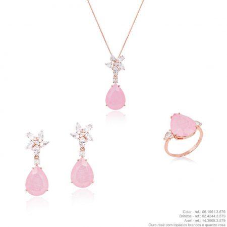 Conjunto colar, anel e brincos em ouro amarelo 18k com topázios brancos e quartzo rosa
