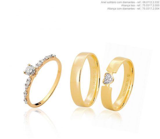 Conjunto par de alianças, em ouro 18k uma com diamantes e um anel com diamantes