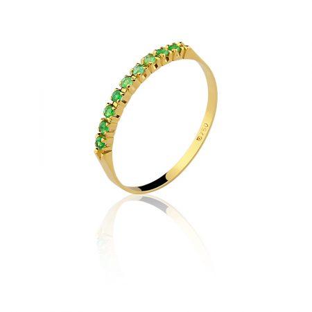 Meia aliança em ouro amarelo 18k-750com esmeraldas - 0100052501Br