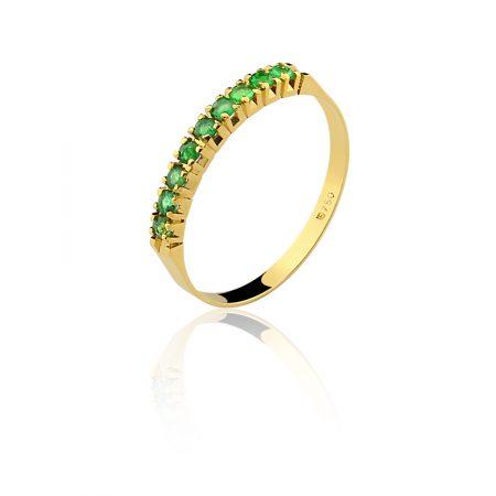 Meia aliança em ouro amarelo 18k-750com esmeraldas - 0100202501Br