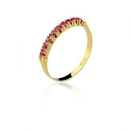 Meia aliança em ouro amarelo 18k-750com rubis - 0100202503Br