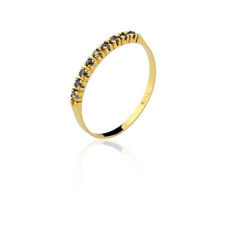 Meia aliança em ouro amarelo 18k-750com safira azul - 0100052502Br