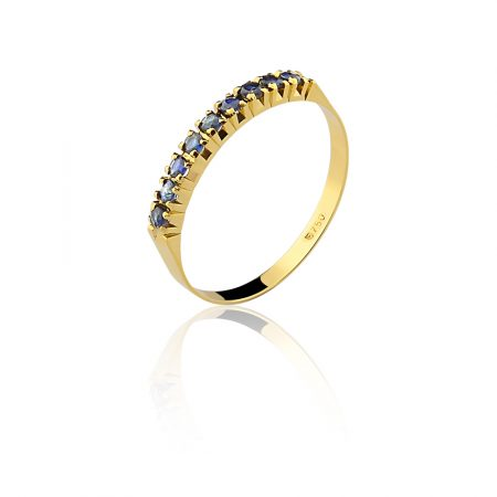 Meia aliança em ouro amarelo 18k-750 com safira azul - 0100202502Br
