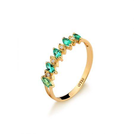 Meia aliança em ouro amarelo 18k-750de esmeraldas e diamantes - 0100222501Br