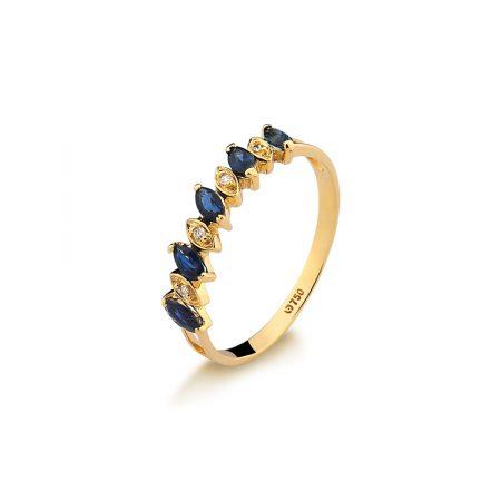 Meia aliança em ouro amarelo 18k-750de safira azul e diamantes - 0100222502Br