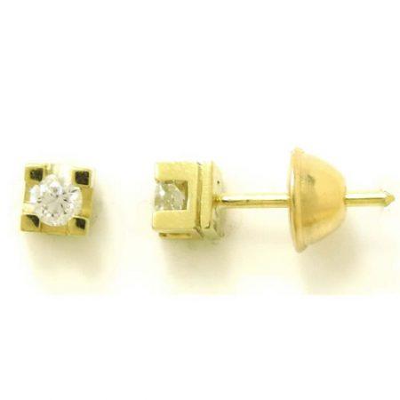 Par de Brincos Solitário Cartier Ouro 18K com Diamantes de 10 pontos cada 0217482020