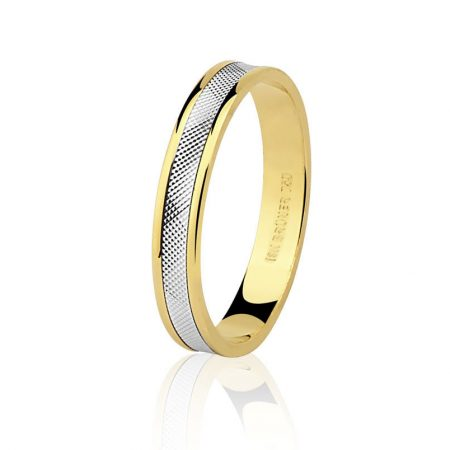Aliança trabalhada em ouro amarelo com detalhe em ouro branco 18k - 7501314000
