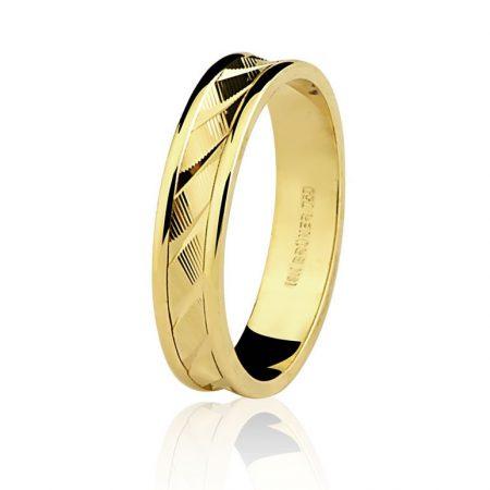 Aliança trabalhada em ouro amarelo 18k - 7501322000