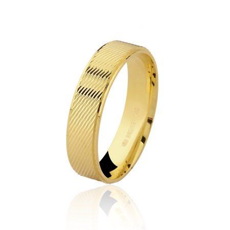 Aliança trabalhada em ouro amarelo 18k - 7502402000