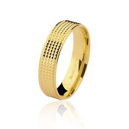 Aliança trabalhada em ouro amarelo 18k - 7502412000