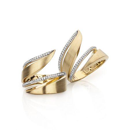 Anel fosco em ouro 18k com 2 filas de diamantes