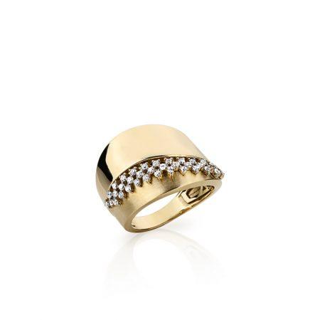 Anel largo em ouro 18k com diamantes