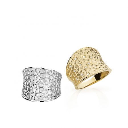 Anel largo em ouro branco ou amarelo 18k com diamantes