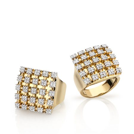 Anel largo quadrado em ouro 18k com Diamantes