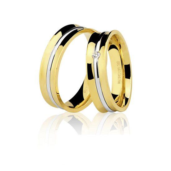 Par Alianças Ouro Amarelo 18K Ouro Branco com 1 Diamante