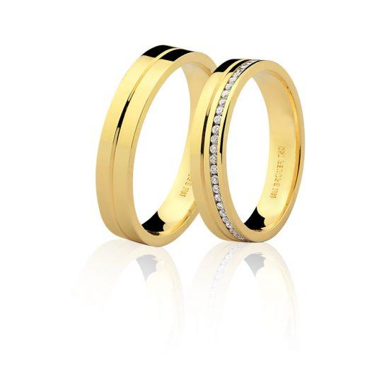 Par Alianças em Ouro Amarelo 18K 1 Fila de Diamantes