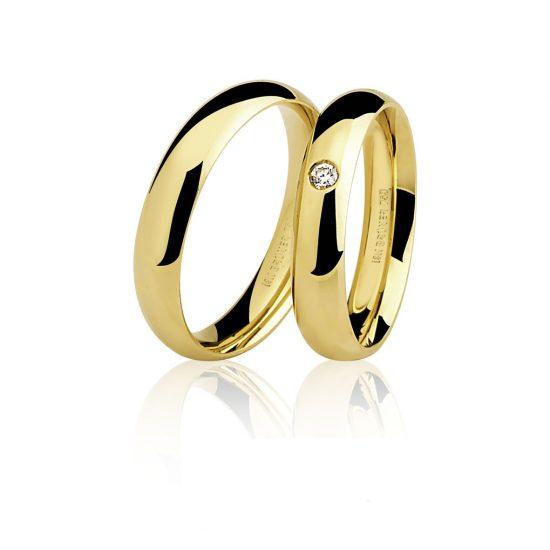 Par Alianças em Ouro Amarelo 18K com 1 Diamante