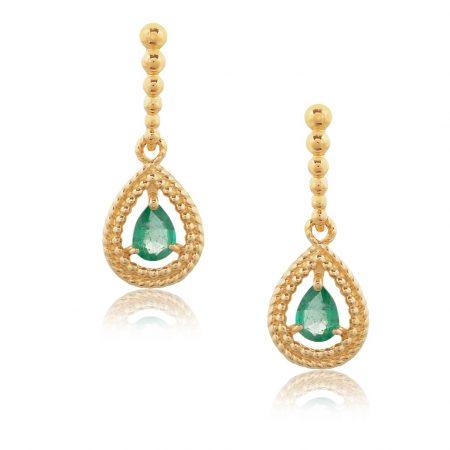 Par de Brincos em ouro 18k com Esmeraldas e diamantes