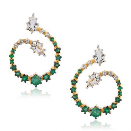 Par de brincos em ouro 18k com Esmeraldas, Topázios Brancos e Diamantes