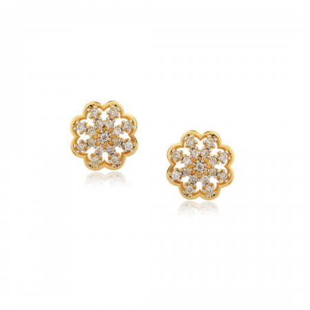 Par de brincos em ouro 18k com detalhes em ouro rosé e diamantes