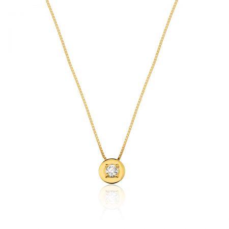 Colar em ouro 18k com um diamante