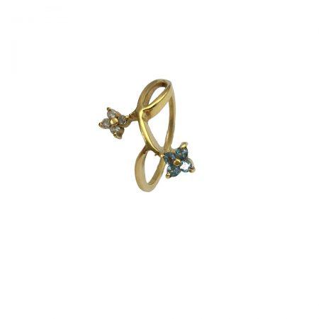 Anel em ouro 18k com azul e diamantes