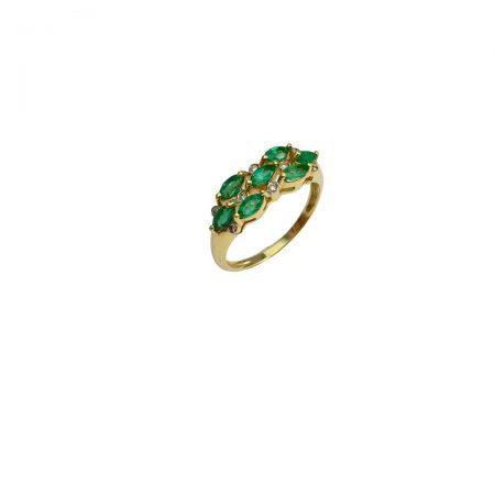 Anel em ouro 18k com esmeraldas navete