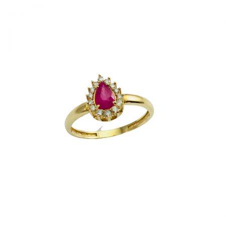 Anel em ouro 18k com rubi gota e diamantes