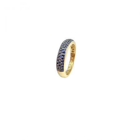 Anel em ouro 18k com safira azul