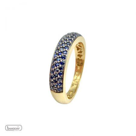 Anel em ouro 18k com safiras azuis